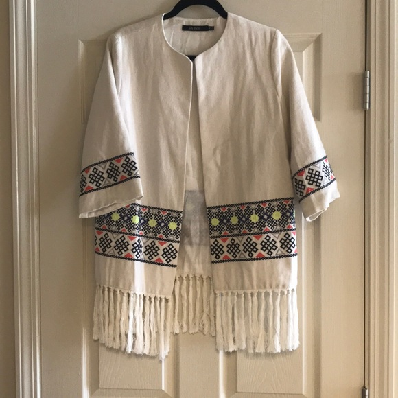 Ark & Co Jackets & Blazers - Embroidered jacket with fringe